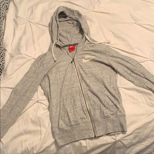 Light gray Nike jersey zip hoodie